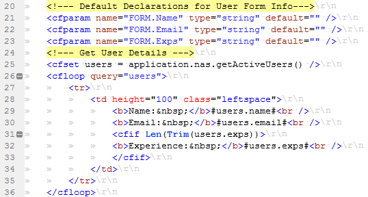 Hiding Whitespace, New Line and Carriage Return Characters in ColdFusion Builder