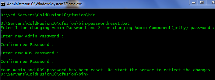 ColdFusion 10: Resetting ColdFusion Administrator Password