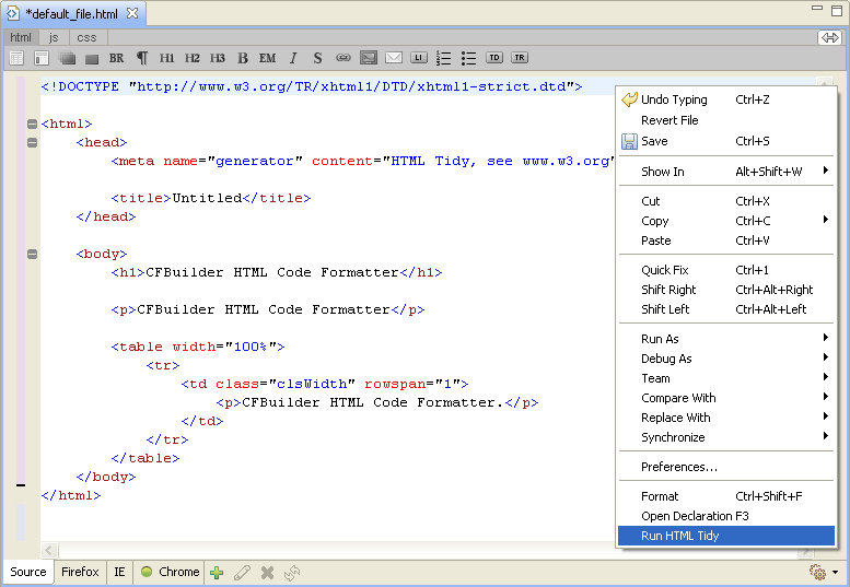 ColdFusion Builder: Using HTML Code Formatter